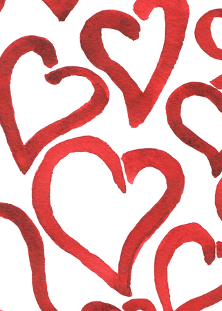 infantile: Hearts painted red watercolor closeup background