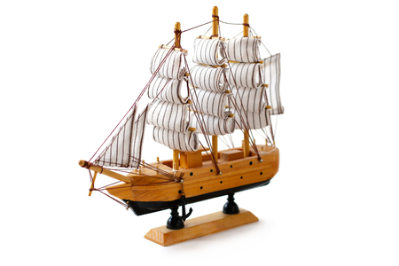 shallop: Toy Ship on white background Stock Photo