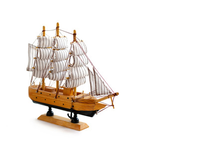 shallop: Model ship on white background
