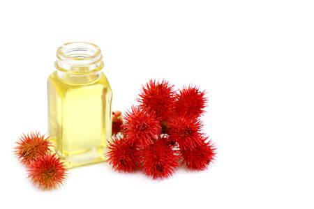 Castor oil in glass bottle on white background
