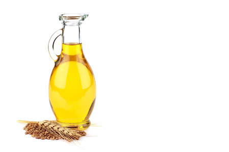 Wheat germ oil isolated on white background
