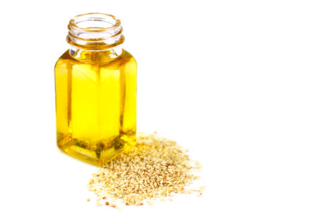 Sesame oil isolated on white background