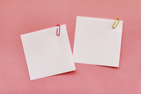 Two white note papers with clips on pink background