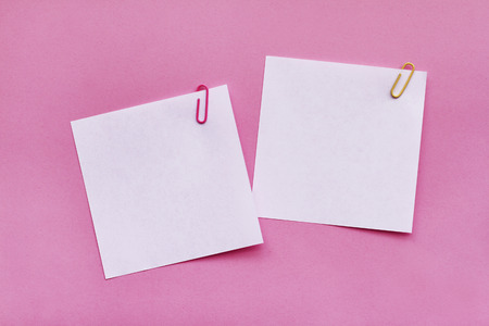 Two white blank note papers with clips on bright pink background