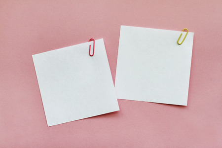 Two white blank note papers with clips on light pink background