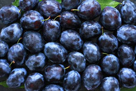 Ripe fresh plums sprayed with water used as background