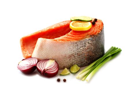 Salmon on white