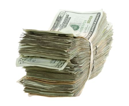 Twenty Dollar Bills Stacked and Banded Together with a Rubber Band isolated on white background. photo