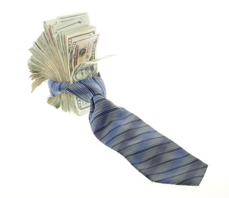 US Currency Twenty Dollar Bills  Tied up with a blue, striped mens neck tie,  isolated on white background. photo