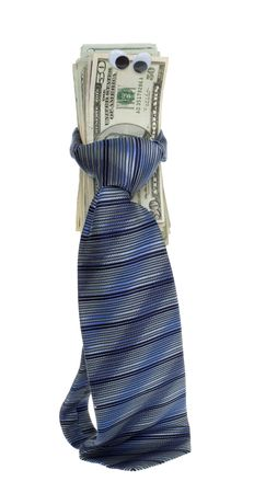 US Currency Twenty Dollar Bills with Google Eyes Tied up with a blue, striped mens neck tie,  isolated on white background. photo