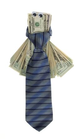 US Currency Twenty Dollar Bills with Google Eyes Tied up with a blue, striped mens neck tie,  isolated on white background. Stock Photo