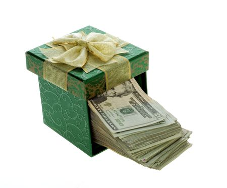 US Currency Twenty Dollar Bills coming out of a Green, square, gift box with lid,  isolated on white background. photo