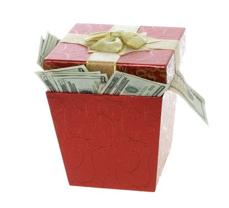US Currency Twenty Dollar Bills coming out of a Red, square, gift box with lid,  isolated on white background. photo