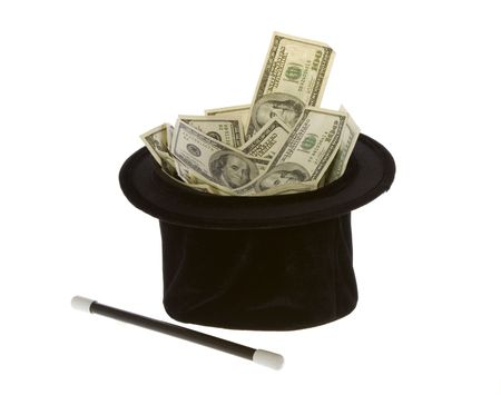 black magic: US Currency One Hundred Dollar Bills in a black magic hat with a magic wand, isolated on white background.