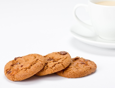 Chocolate Chip Cookies with Coffee Stock Photo