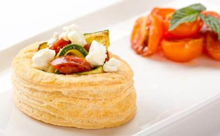 Chorizo, zucchini and goat cheese tart