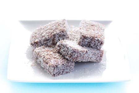 Small laming ton sponge cakes