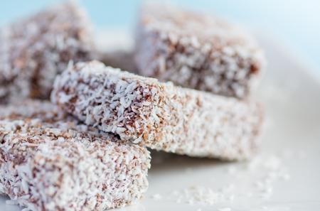 lamington: Lamington - sponge cake covered with chocolate and coconut