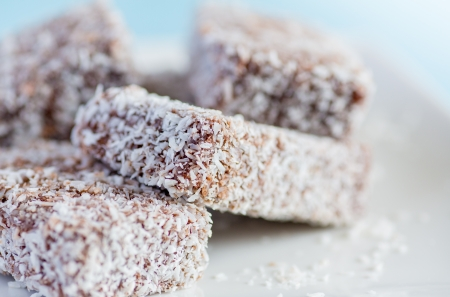 Lamington - sponge cake covered with chocolate and coconut