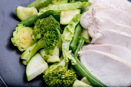 Lean chicken and vegetables close-up Stock Photo