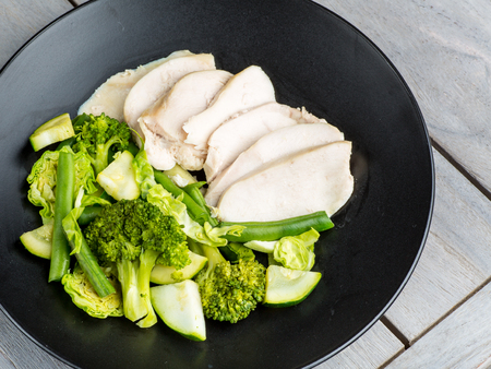 Clean chicken and green vegetables
