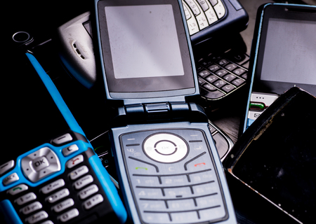 Old cell phones for recycling close up