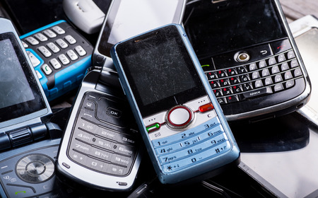 Mobile phones for recycling close up