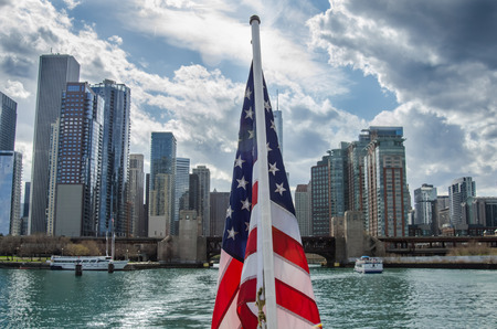 American Flag in Front of Chicago Skyline photo