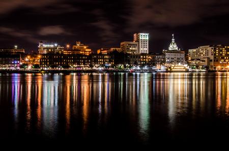 Savannah Skyline at Night 스톡 콘텐츠