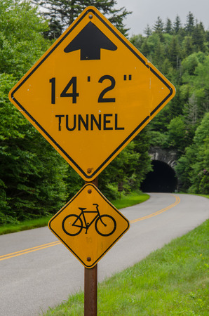 ess: A sign warns cars and bikers of a tunnel coming up along the Blue Ridge Parkway