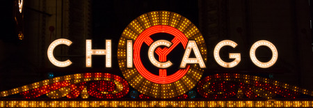 Bright lights advertise a popular place for shows and concerts in Chicago, Illinois Editorial