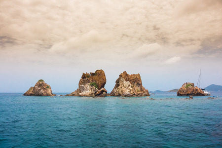 Rocks of the Indians jut out from the Caribbean in the British Virgin Islands
