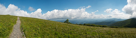 The Appalachian Trail Winds up the Grassy Face of Round Bald Near Roan Mountain