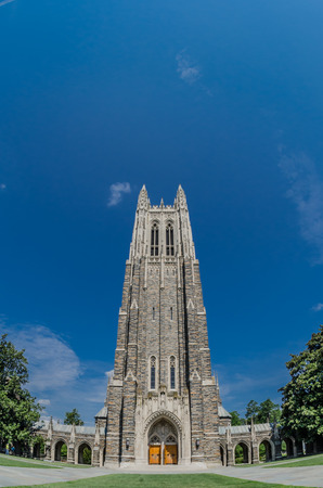 The gothic Duke Chapel towers over the campus in summer