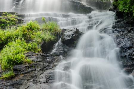 Looking up at Amicalola Falls from the visitor photo