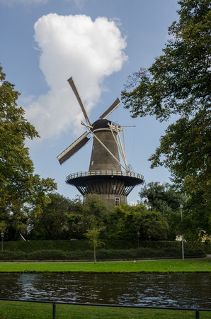 A windmill on a rare sunny day in Leiden in South Holland