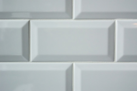 bathroom tiles: Rectangle subway tiles on a wall Stock Photo