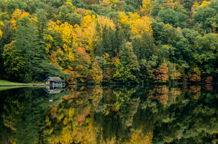 boathouse: A small boathouse sits along the edge of a lake reflecting leaves changing in autumn