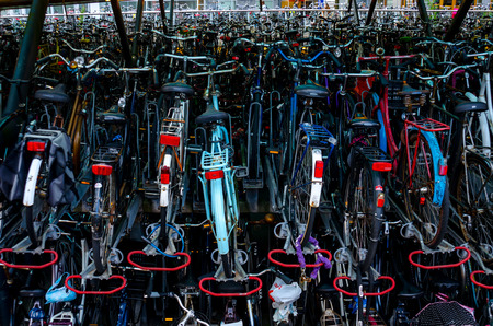 Thousands of bicycles are stored in stacks at a train station in Leiden in the Netherlands