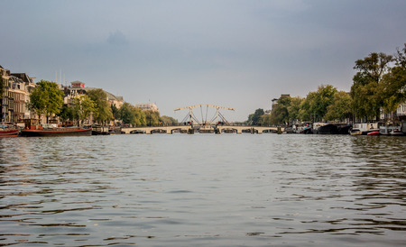 destination scenics: A distance view of a drawbridge on the Amstel River