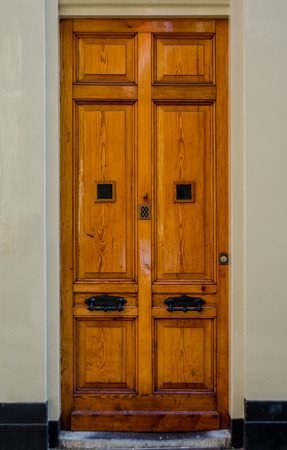 sturdy: A sturdy wooden door against a neutral wall