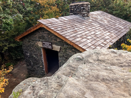 appalachian trail: Looking down on the Blood Mountain Shelter on top of the highest point of the Appalachian Trail in Georgia Stock Photo