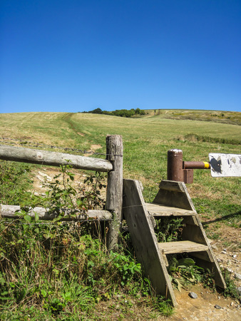 appalachian trail: A fence crossing before the climb up to Max Patch on the Appalachian Trail Stock Photo