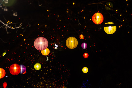 chinese lanterns and christmas lights hanging in outdoor trees stock photo 39327690