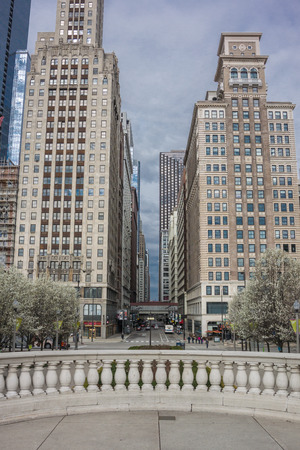 countless: Walking the streets of Chicago provides countless views of the citys skyscrapers Stock Photo