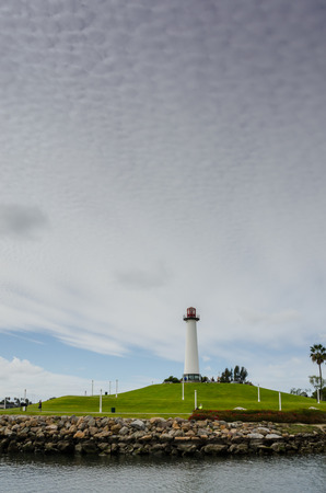 A running and biking path winds around and up to an historic lighthouse in Long Beach Harbor photo