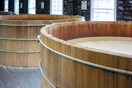 bourbon: Looking into bourbon mash tanks in a distillery Stock Photo