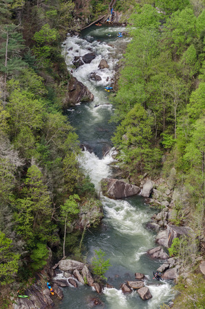 extreme angle: Kayakers enjoy the Toccoa River on a high release day in spring