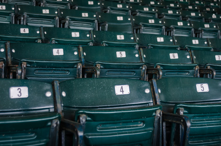 quarter horse: Green folding seats in the stadium section of a sporting arena