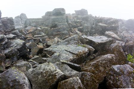 quartzite: The Appalachian Trail passes over a rocky peak in Shenandoah National Park Stock Photo